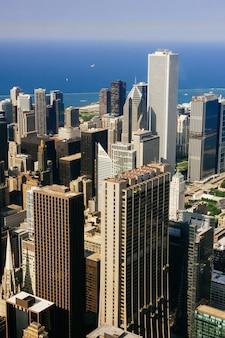 Cidade de chicago. vista aérea de chicago e.