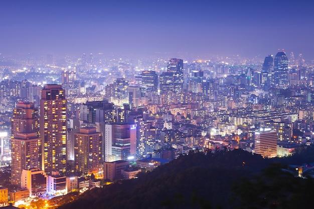 Cidade de seul à noite, coreia do sul.