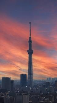 Cidade de tóquio e torre da árvore tokyo sky vista aérea da cidade de tóquio com o famoso destino turístico landma
