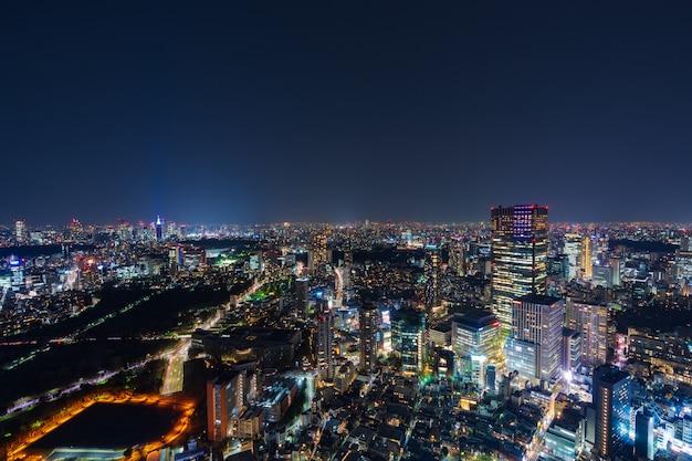 Cidade de tóquio no crepúsculo, japão