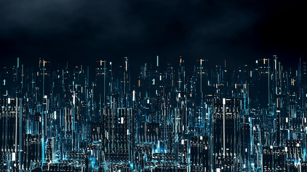 Cidade digital à noite com várias cores levou luzes brilhantes.