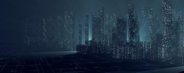 Cidade digital abstrata com torres de demolição do céu e dados binários de pontos brilhantes