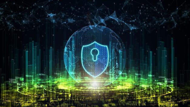 Cidade digital da segurança cibernética. proteção de rede de dados digitais
