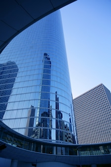 Cidade do arranha-céu de houston texas azul edifícios