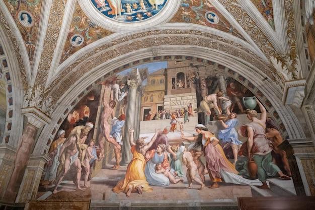 Cidade do vaticano, vaticano - 22 de junho de 2018: afresco de arte no museu do vaticano