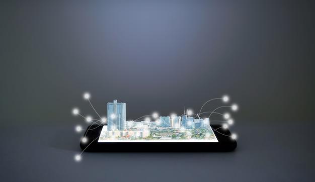 Cidade e tecnologia em um smartphone