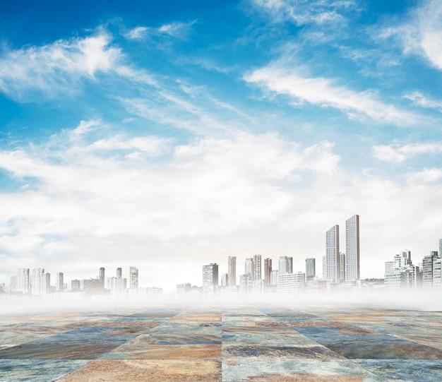 Cidade em um dia nevoento
