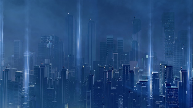 Cidade futurista de sci fi virtual.
