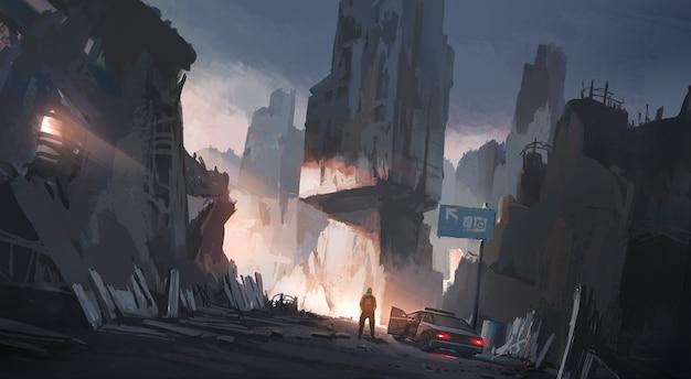 Cidade humana após a guerra, ilustração digital