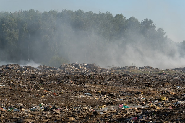 Cidade lixeira com lixo diferente queima em um dia ensolarado de verão