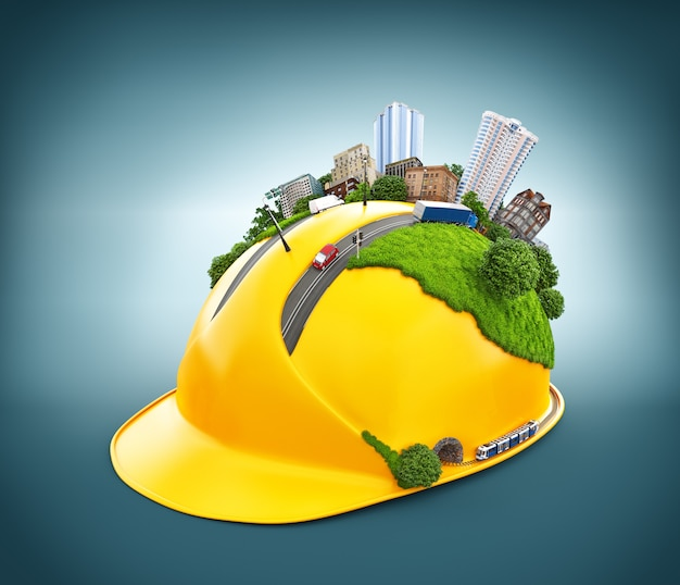 Cidade no capacete de construção
