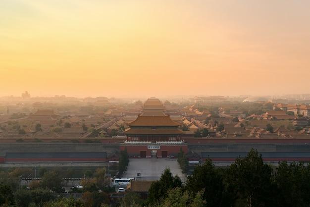 Cidade proibida antiga de beijing na manhã em beijing, china.