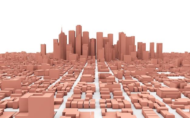 Cidade rosa isolada no branco
