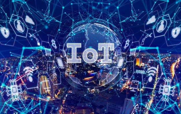 Cidades do futuro com gráfico mostrando conceito de internet das coisas (iot)