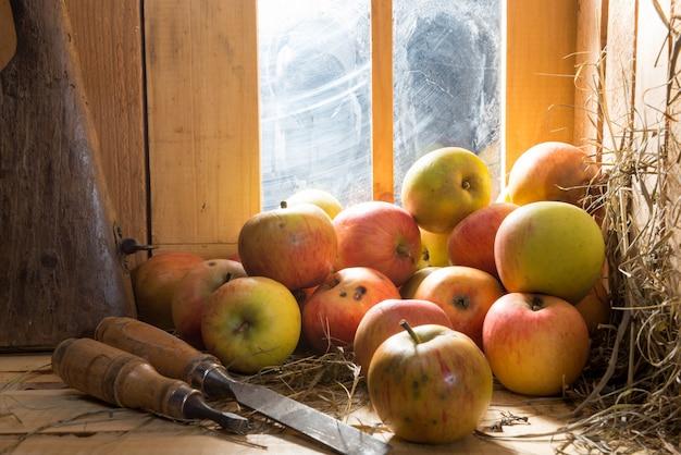 Cidra de maçãs em um celeiro