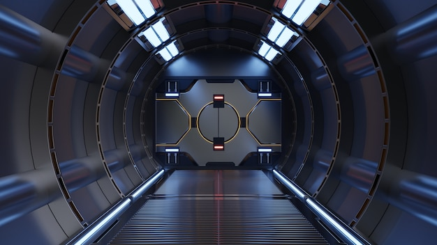 Ciência fundo ficção interior renderização sci-fi nave espacial corredores luz azul, renderização 3d