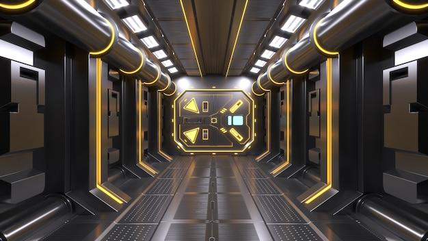 Ciência fundo ficção interior sala sci-fi nave espacial corredores amarelo, renderização em 3d