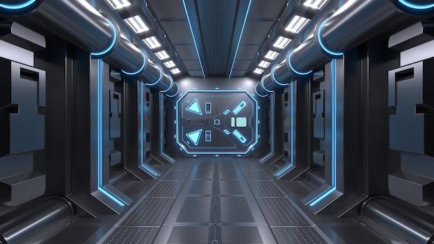 Ciência fundo ficção interior sala sci-fi nave espacial corredores azul