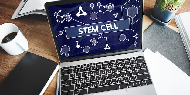 Ciência tecnologia de células-tronco atom dna concept