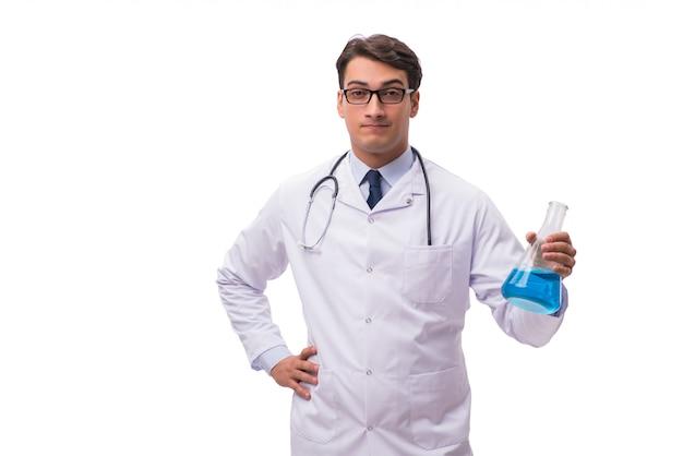 Cientista de laboratório isolada no branco