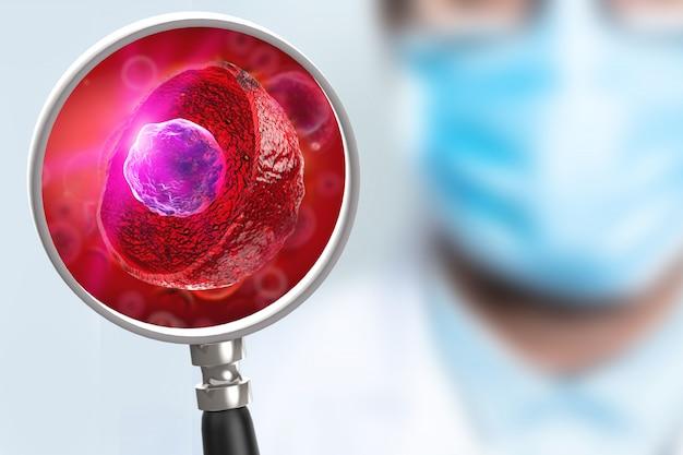 Cientista profissional examina células-tronco com uma lupa