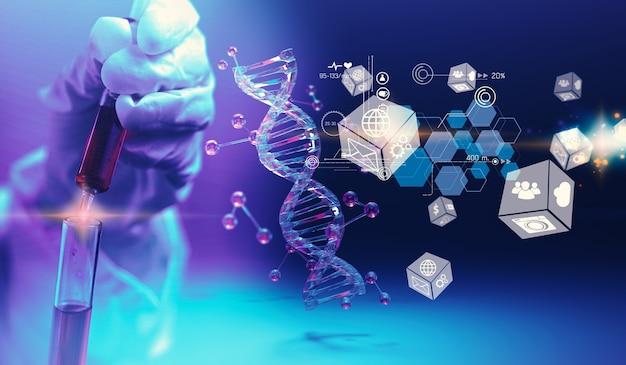Cientista segurando amostra biológica líquida. conceito de instituto de pesquisa de tecnologia médica