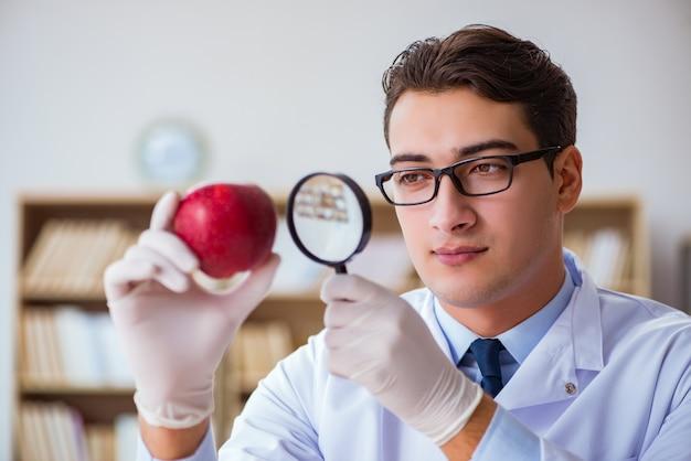 Cientista trabalhando em frutas e legumes orgânicos