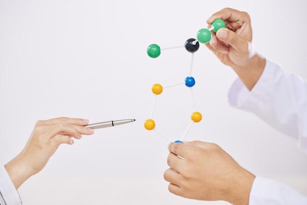 Cientistas com modelo molecular
