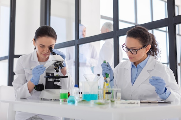 Cientistas trabalhando em laboratório de tiro médio