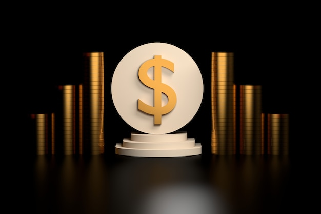 Cifrão com moedas de ouro