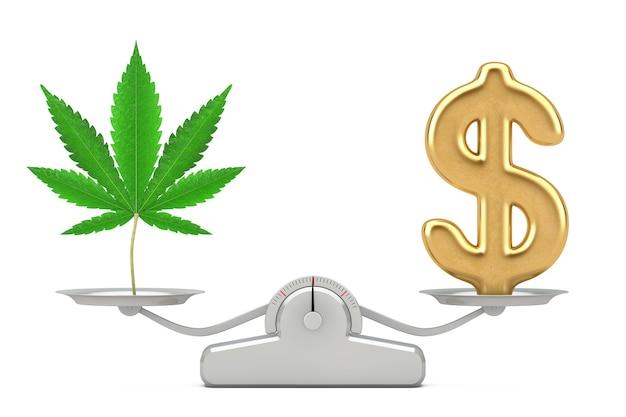 Cifrão dourado com maconha medicinal ou folha de cânhamo de cannabis equilibrando em uma escala de ponderação simples em um fundo branco. renderização 3d
