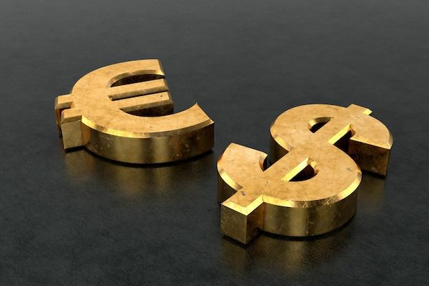 Cifrão dourado e sinal de euro. renderização em 3d.