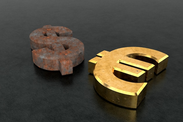 Cifrão enferrujado e cifrão euro dourado. renderização em 3d.