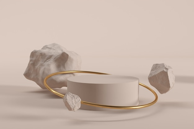 Cilindro com anel dourado e pedras renderização em 3d