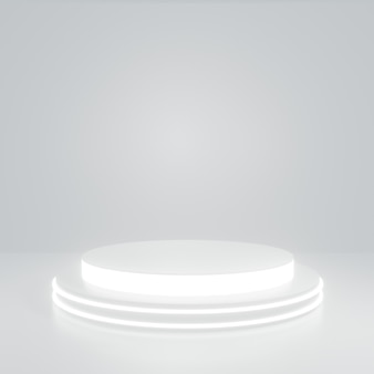 Cilindro de brilho branco suporte de produto na sala branca, studio scene for product, design minimalista, renderização 3d