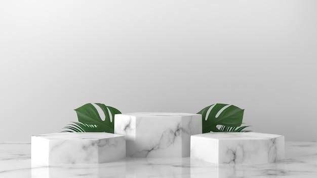 Cilindro de mármore branco de luxo três com folhas no fundo
