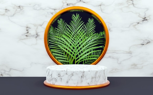 Cilindro de mármore e folhas de palmeira planta cena branca tela abstrata fundo de renderização 3d