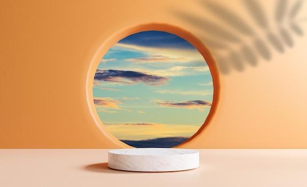 Cilindro de mármore pódio com cena de céu de nuvem azul mínima da janela do círculo e deixa sombra na parede laranja para exibição de estágio de produto de verão por técnica de renderização em 3d.