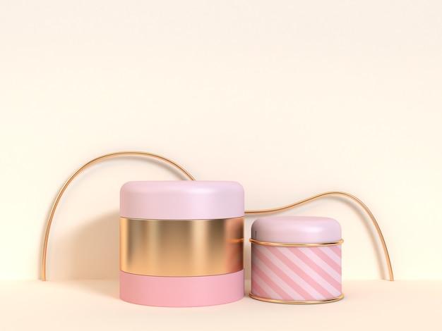 Cilindro rosa abstrato ouro renderização 3d cena em branco mínima