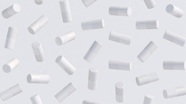 Cilindros brancos girando. ilustração abstrata, renderização 3d.