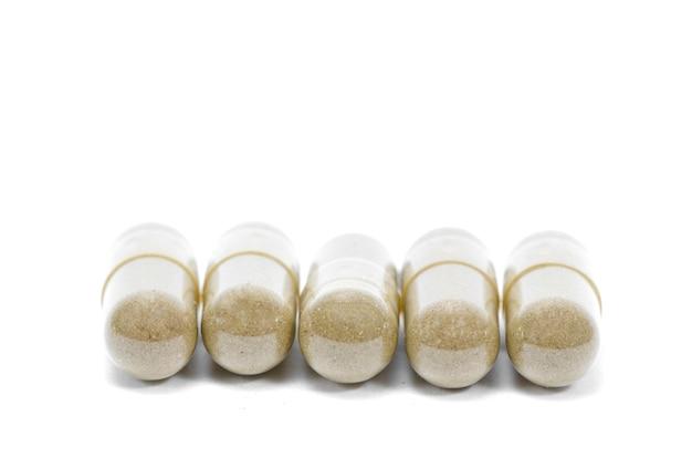 Cima, andrographis, paniculata, herbário, antipirético, cápsulas, isolado, branco