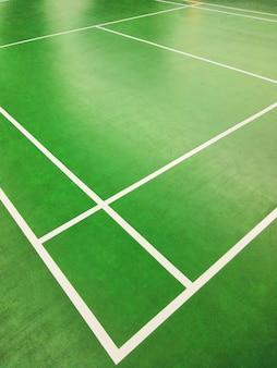 Cima, ângulo alto, canto, vista, de, badminton, corte