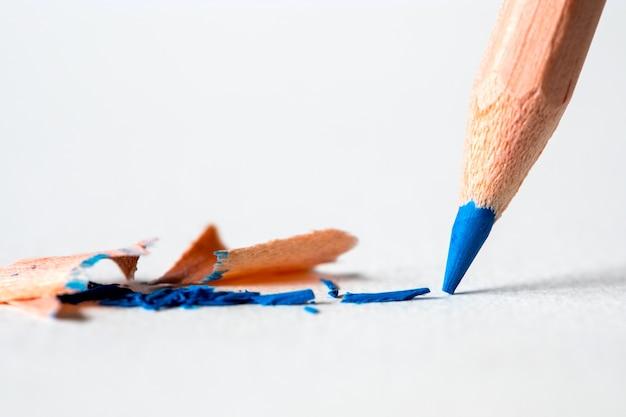 Cima, cabeça, de, azul, cor, lápis, branco, desenho, papel