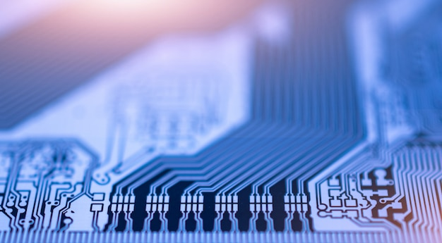 Cima, circuito pcb, tábua, digital, tecnologia, comunicação, sistema dados