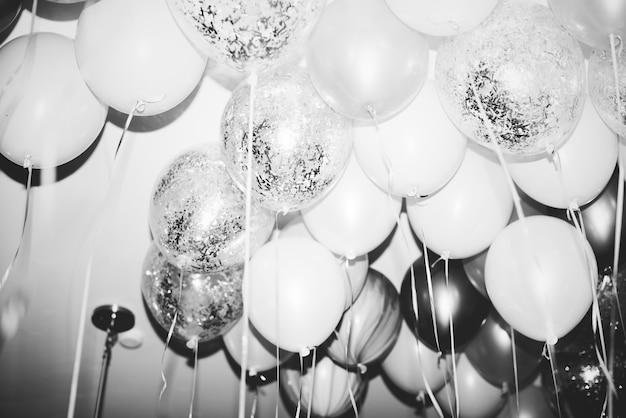 Cima, de, balões, em, um, partido
