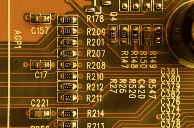 Cima, de, colorido, micro, circuito tábua, fundo