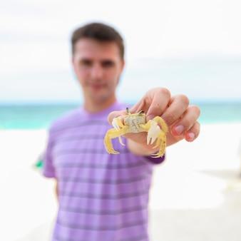 Cima, de, mão homem, segurando, carangueijo