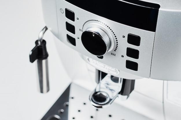 Cima, de, máquina café, branco, fundo