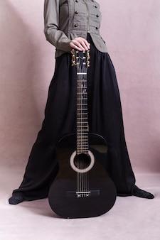 Cima, de, mulher, com, guitarra