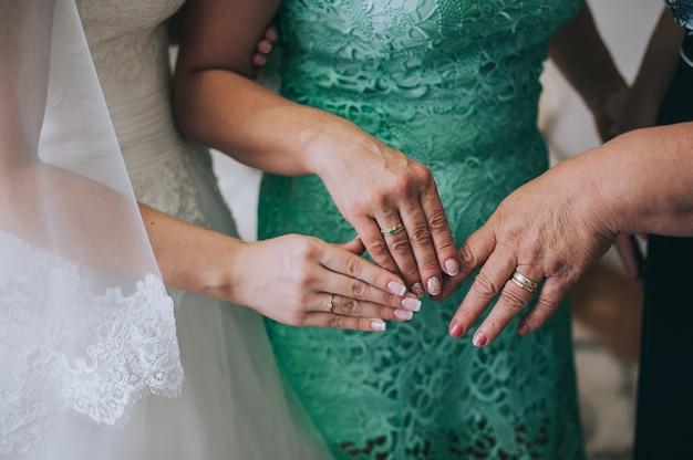 Cima, de, noiva, e, damas honra